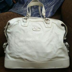 Celine white patent leather large shoulder bag